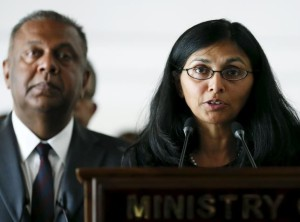 Nisha Biswal (R), U.S. assistant secretary of state for South and Central Asian Affairs, speaks to media next to Sri Lanka's Minister of Foreign Affairs Mangala Samaraweera during their meeting in Colombo August 25, 2015. REUTERS/Dinuka Liyanawatte