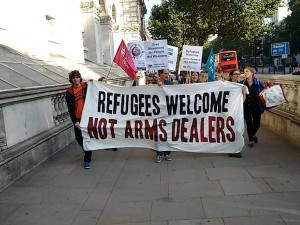 Refugees welcome, not arm dealers
